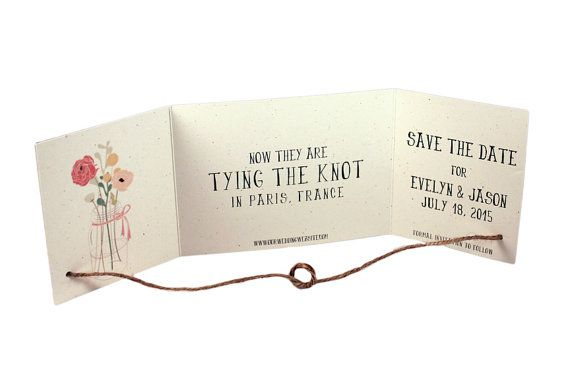 SAMPLE Rustic Tying the knot save the date Tying by SweetSights