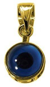 JewelryAffairs Sterling Silver 18 Karat Gold Overlay Plated Evil Eye Pendant.
