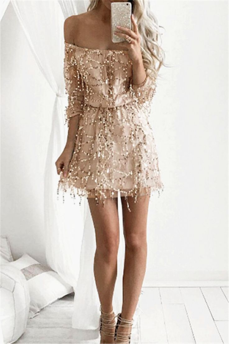 $19.65 Stylish Off The Shoulder Sequins Long Sleeve Dress For Women
