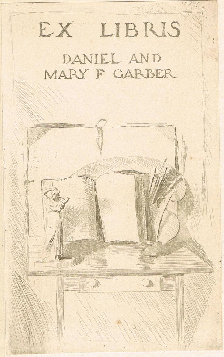 Ex Libris - Bookplate of American Impressionist landscape painter Daniel Garber.: Exlibris