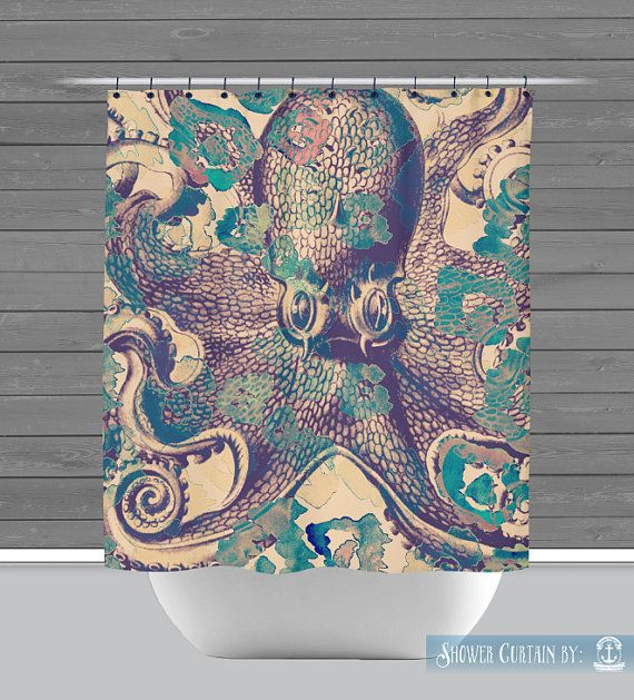 Octopus Shower Curtain: Nautical Sealife Bath by BrandiFitzgerald