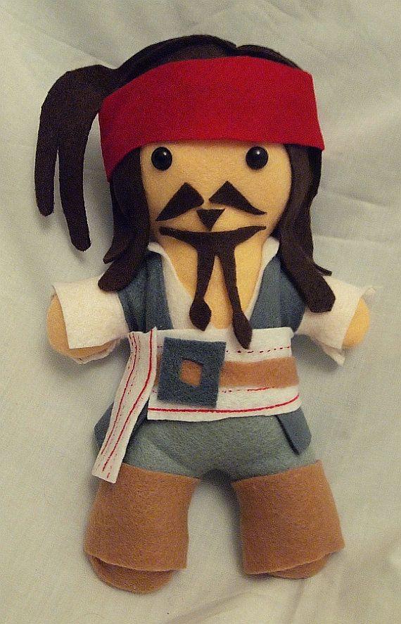 Jack Sparrow Feltie  READY TO SHIP by KatArtIllustrations on Etsy, $25.00