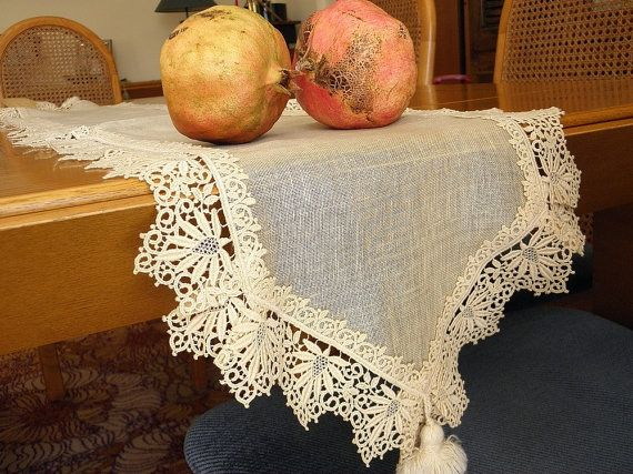 Elegant linen lace table runner with beautiful ecru by Eleptolis