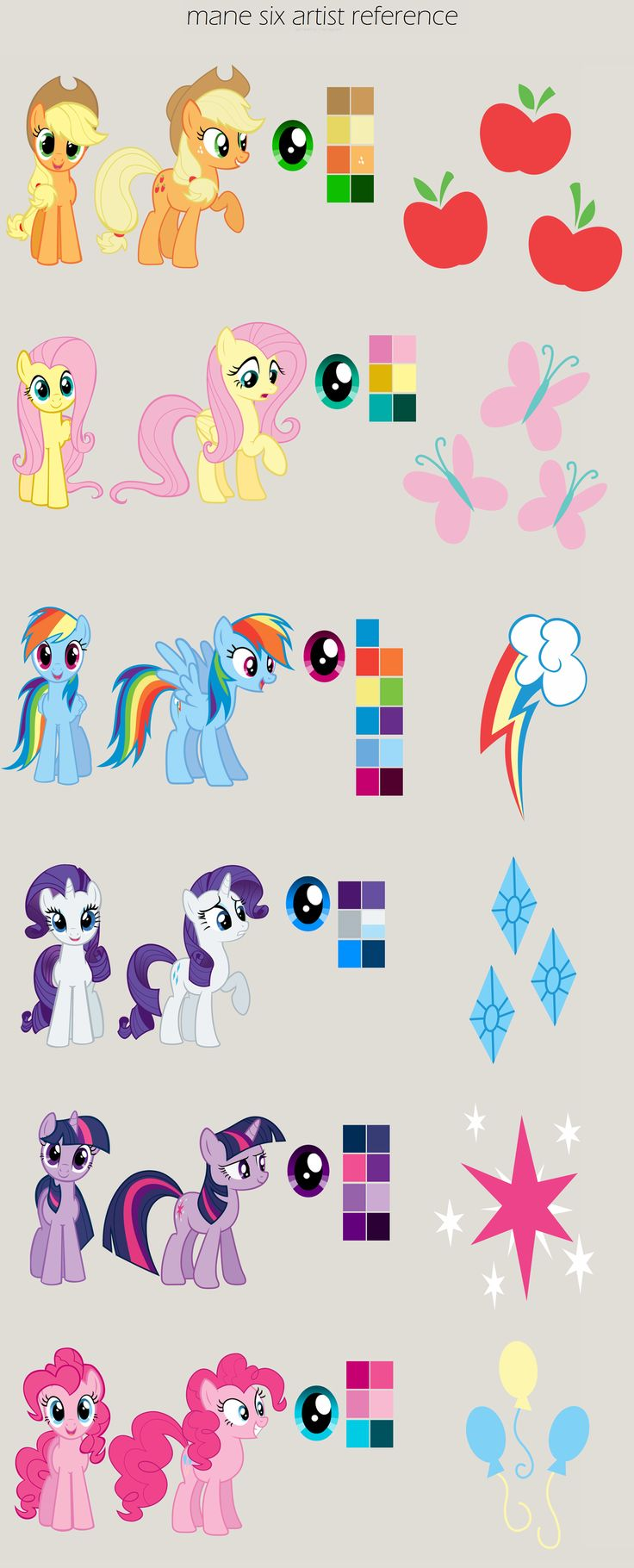 MLP:FiM Mane Six Artist Reference by *missmagikarp on deviantART my little pony friendship is magic color reference