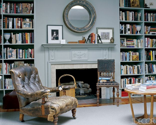 books: Interior Design, Living Rooms, Wall Color, Decorating Ideas, Book, House, Old Chairs, Benjamin Moore, Fireplace