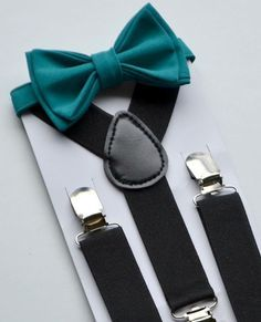 SHIPS SAME DAY!** Bow Tie Suspenders -- Black Suspenders -- Teal Bow Tie -- Ring Bearer Outfit -- Boys Birthday Outfit