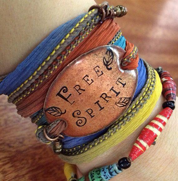 Free Spirit , Gypsy Soul Silk wrap bracelet boho style, Gypsy soul, Free spirit Boho Silk Wrap by SailorStudio Etsy