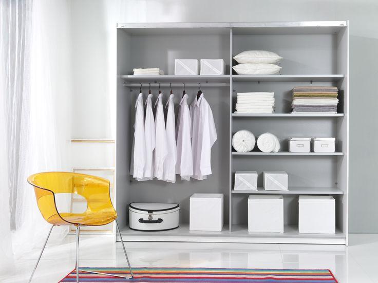 Beta garderob, vit/spegel (220 cm bred)