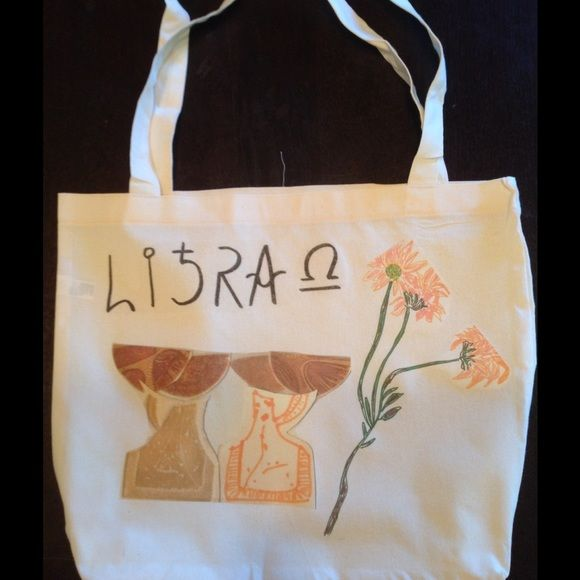 LIBRA zodiac tote bag🔮🔮 Hey , what's your sign? Hand drawn original design screened on 50/50 cotton poly American Apparel tote bag. 😃❤️🔮😆discounted to $18 for month of libra!! Happy birthday!! American Apparel Bags Totes