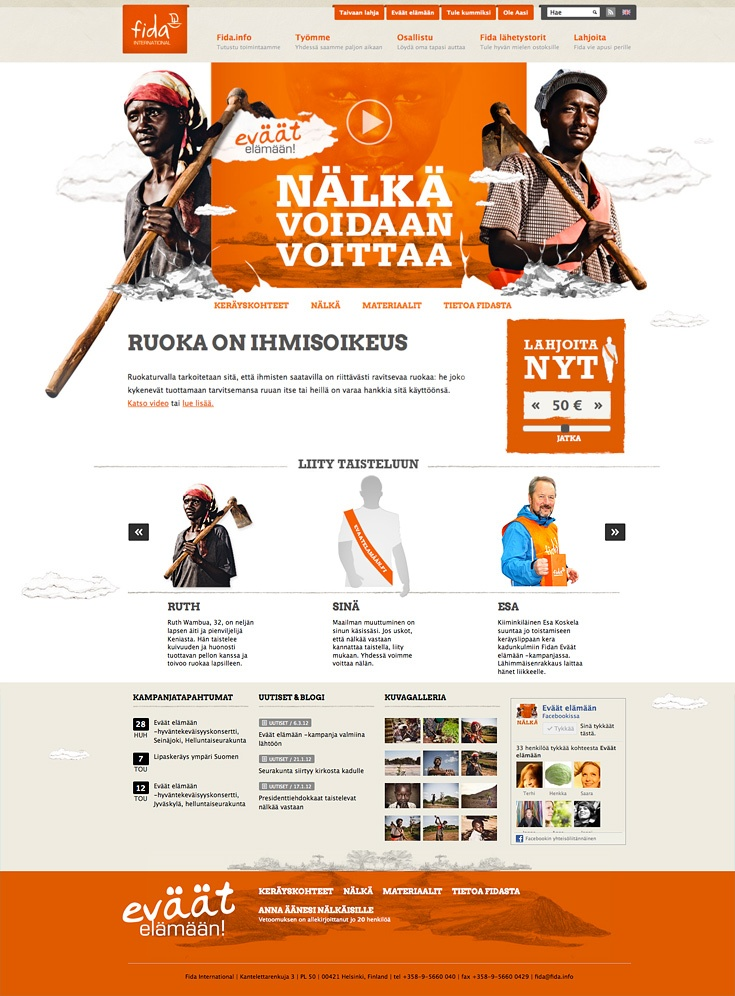 Visual identity and campaign web site for Fida Eväät Elämään charity campaign