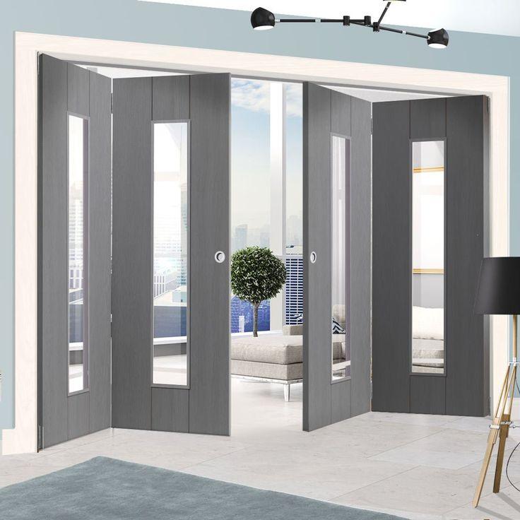 Thrufold Nuance Ardosia Slate Grey Flush 2+2 Folding Door - Clear Safety Glass, Pre-finished.    #glazeddoors #moderngreydoors #greydoors #foldingdoors #moderndoors #moderninterior #grey #interior