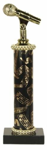singing trophy | Deluxe Singing Microphone Trophy - Marble Base - Music Column
