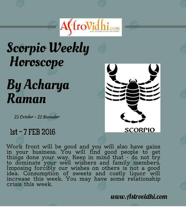 Check your Scorpio weekly Horoscope ( from 1 to 7 Feb 2016 ) and plan your full week accordingly.