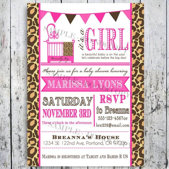 leopard print safari baby shower invitations by