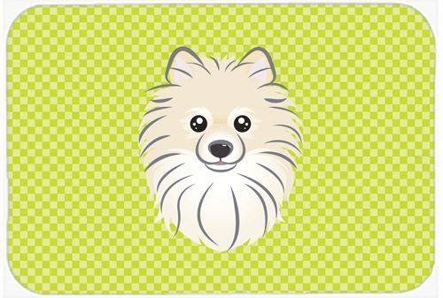 Checkerboard Lime Green Pomeranian Mouse Pad - Hot Pad or Trivet BB1269MP #artwork #artworks