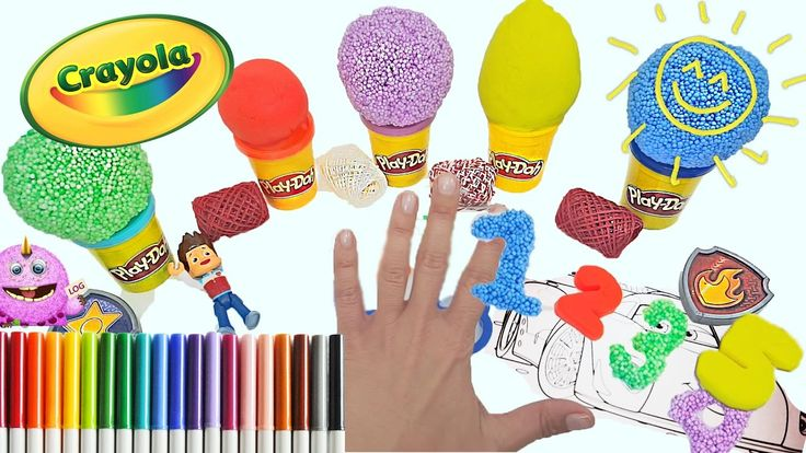 Learn to colors and count together with playdoh, foam clue & disney ferrari toys
