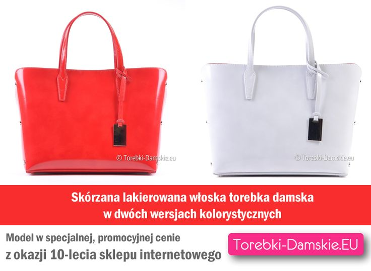 Model wykonany z lakierowanej skóry naturalnej w specjalnej, promocyjnej, okazyjnej cenie z okazji 10-lecia funkcjonowania sklepu internetowego Torebki-Damskie.eu