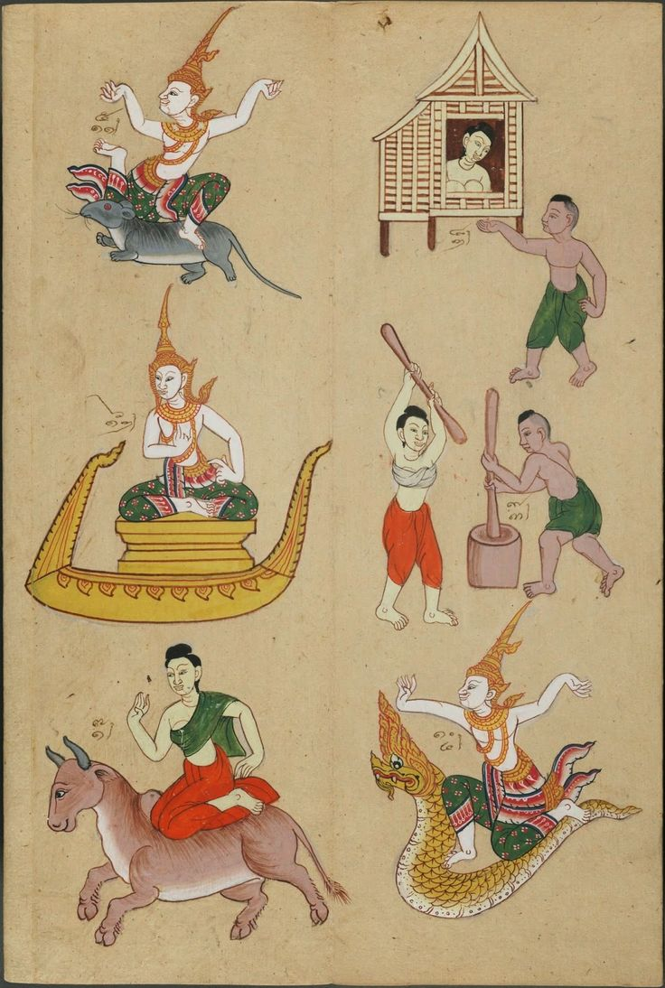 sketch of 8 figures (mascot zodiac gods, humans and animals) - part of astrological divination system