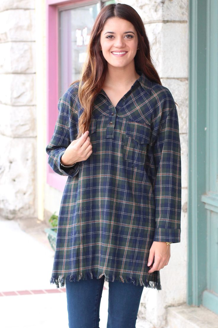Raw Edge Plaid Flannel Tunic Dress {Green Mix}