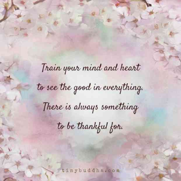 """""""Train your mind and heart to see the good in everything. There is always something to be thankful for."""""""