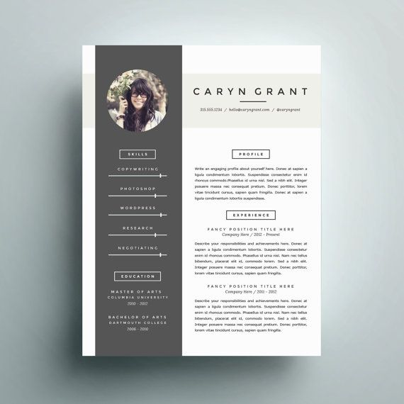 Professional Resume Template and Cover Letter Template for Word | DIY Digital…