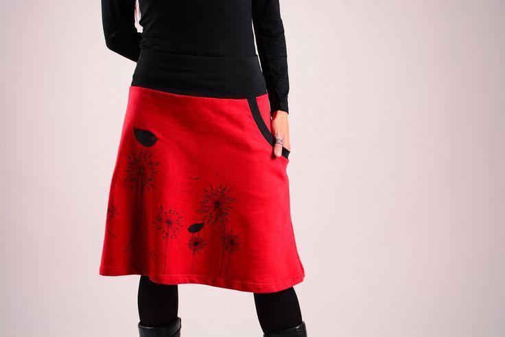 Hera zeefdruk rok (rood / zwarte vogelstand) van moondeval op DaWanda.com