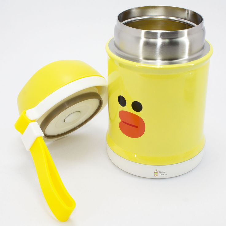 #Food Grade Stainless #Steel #Duck #Print #Thermos #Vacuum Food Jar with Folding #Spoon - K106 - #Yellow - 400ML.   #Buy Here - http://amzn.to/2iN2h11