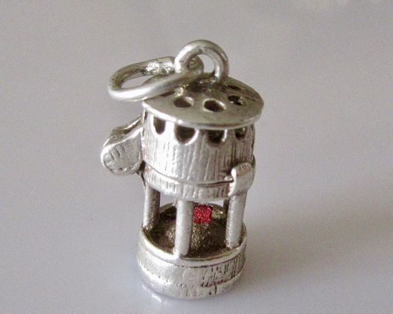 Silver Nuvo Miners Lamp With Enamel Wick Opening Charm Vintage Charm Bracelet Plain Jewelry Silver