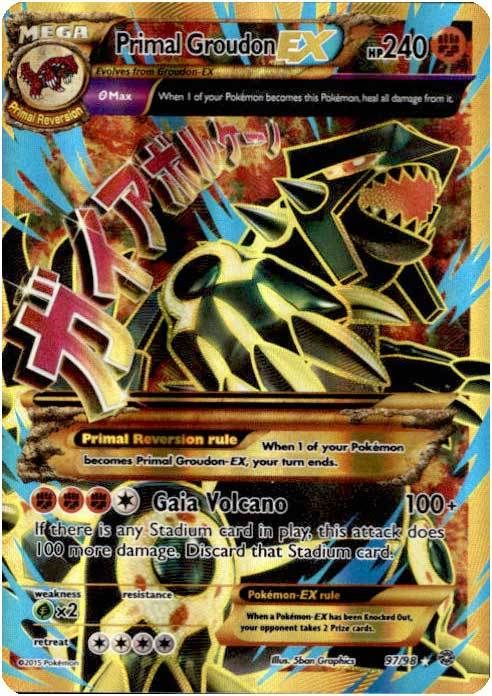 Pokemon X & Y Ancient Origins Ultra Rare Holo Full Art Primal Groudon-EX #97