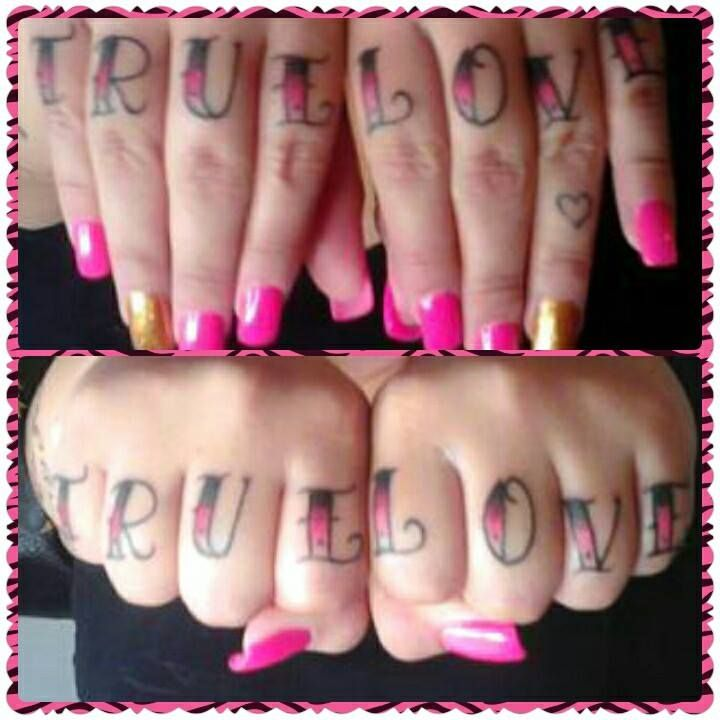 heres my knuckle tattoos true love is what we have I love my Husband knuckle tattoos pink and black girl knuckle tattoos