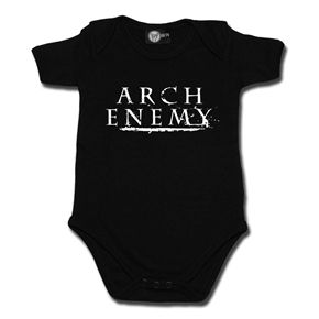 Arch Enemy baby bodysuit featuring logo design. The robust interlock fabric gives a comfortable and soft feeling. Thanks to the envelope neck opening and the snap poppers at the bottom hem it's easy to put on and off even the smallest rockers.Can be combined with a lot of band and metal-kid print designs. Perfect for the little rocker in your life!