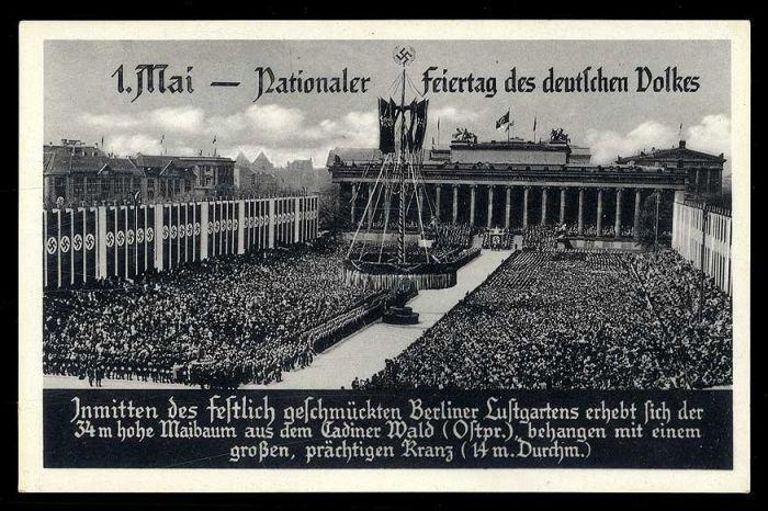 """1934, s/w-Karte """"1. Mai Feiertag des deutschen Volkes im Berliner Lustgarten"""""""