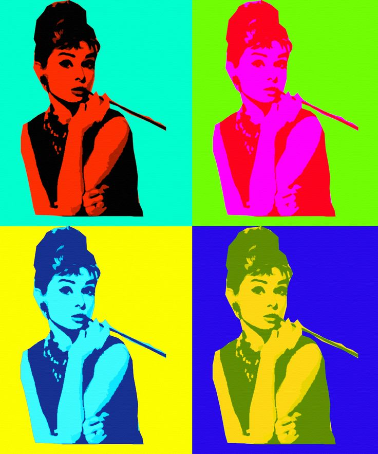 Andy Warhol 's take on Audrey Hepburn - the person is different than normal skin tones or lighted bybuilding/ restaurant.landscape lighting. Bright red burn from the sun, sickish yellow green because something thing was not cooked all the way thru