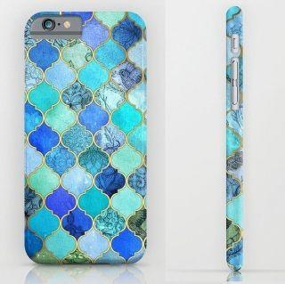 ブルー モロッコ ビーチ タイル iphoneケース 6 6s 6s+ 6+ 5 5s 5c スマホケース