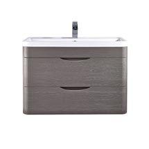 Monza 800mm Wall Hung 2 Drawer Vanity Unit inc 1TH Basin - Stone Grey Woodgrain