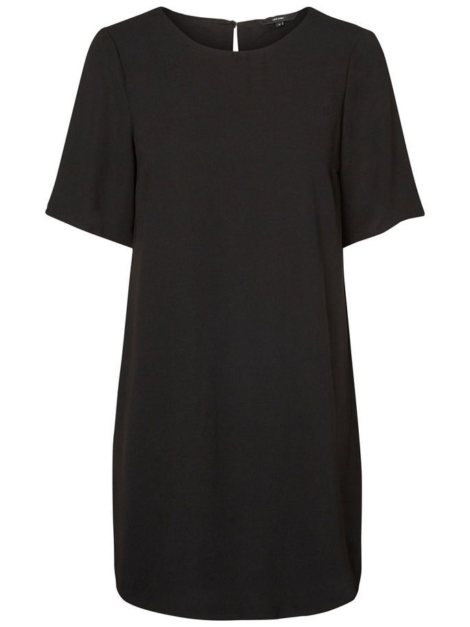 FEMININE SHORT SLEEVED DRESS, Black, large