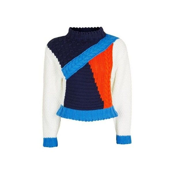 Cropped Colour Block Knitted Jumper by Glamorous (1.527.930 VND) ❤ liked on Polyvore featuring tops, sweaters, multi, blue crop top, high neck sweater, high neck crop top, cropped sweater and blue top