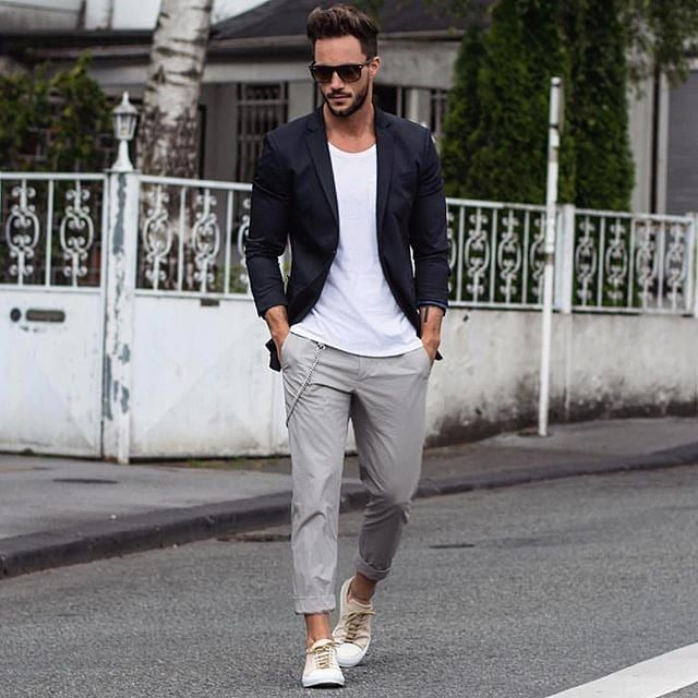 97a87f2a945b Faded-Jeans-and-a-Smart-Blazer-600x600 25 Outfits to Wear with White  Sneakers for Men