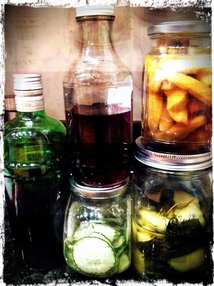 Homemade Infused Vodkas & Gin: Blackberry Gin, Blackberry Vodka, Cucumber Vodka, Honeydew Melon & Mint Vodka, Spiced Apple Vodka