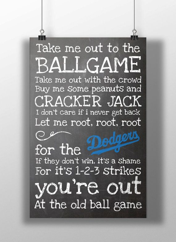 Los Angeles Dodgers Take Me Out to the Ballgame by BigLeaguePrints, $12.00