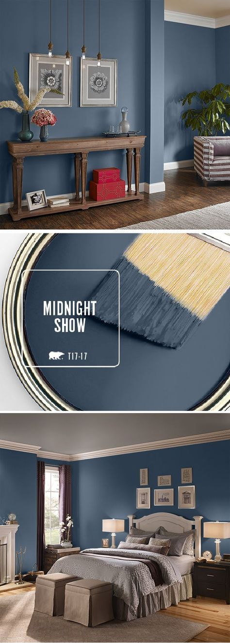 Love this color! Bedroom??? Fall in love with BEHR's color of the month: Midnight Show. This deep, moody blue can be used in a variety of spaces throughout your home. Try pairing it with bright white accents or lightly-colored, neutral furniture to compliment the dark undertones in this gorgeous color. Click here to find more inspiring ways that you can use this stylish shade.