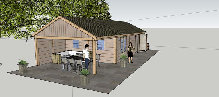 Ontwerp eikenhouten tuinhuis met tuinkantoor en veranda vechtdal bouwsystemen bv www - Ontwerp tuinhuis ...