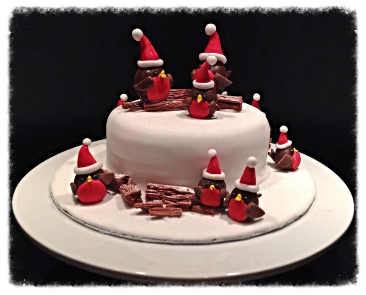 Cute robins Christmas cake.
