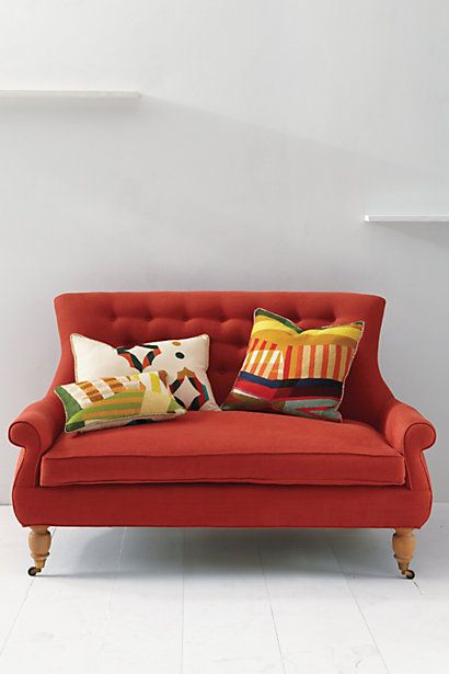 Super awesome love seat from Anthropologie.  Love the color and the lines #Couch #Sofa #Anthropologie