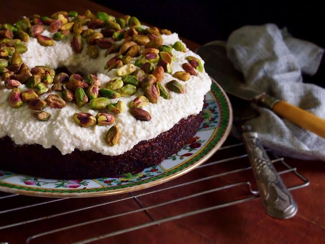 petite kitchen: autumn harvest carrot cake topped with vanilla cream frosting