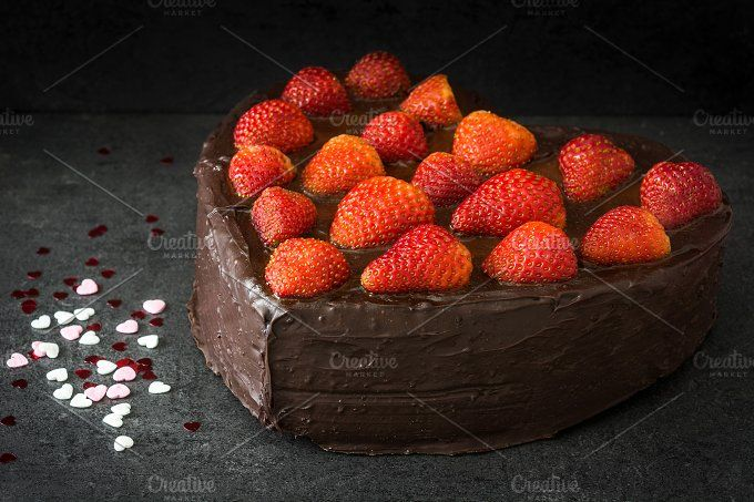 Heart shaped cake and candies by etorres69 on @creativemarket
