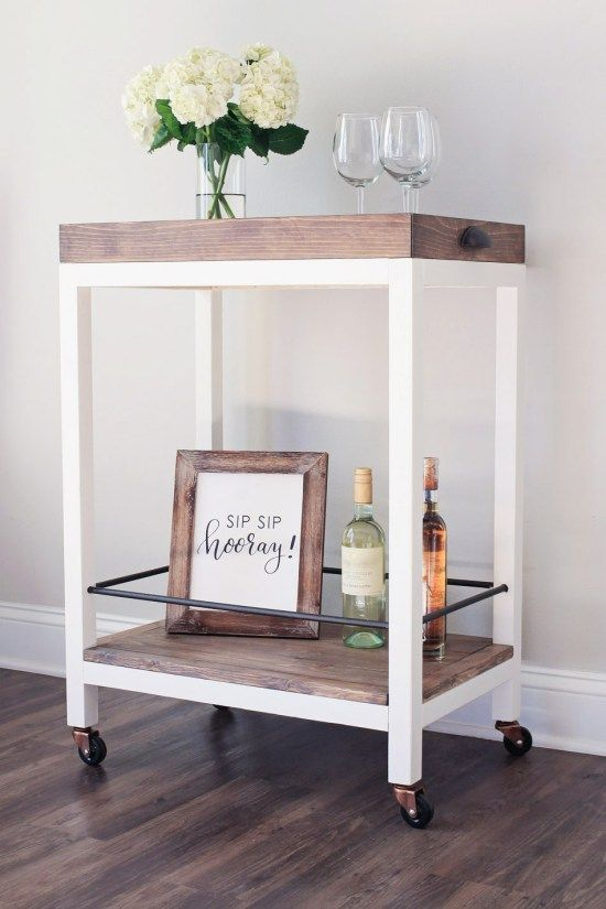 DIY rustic bar cart with a wooden top