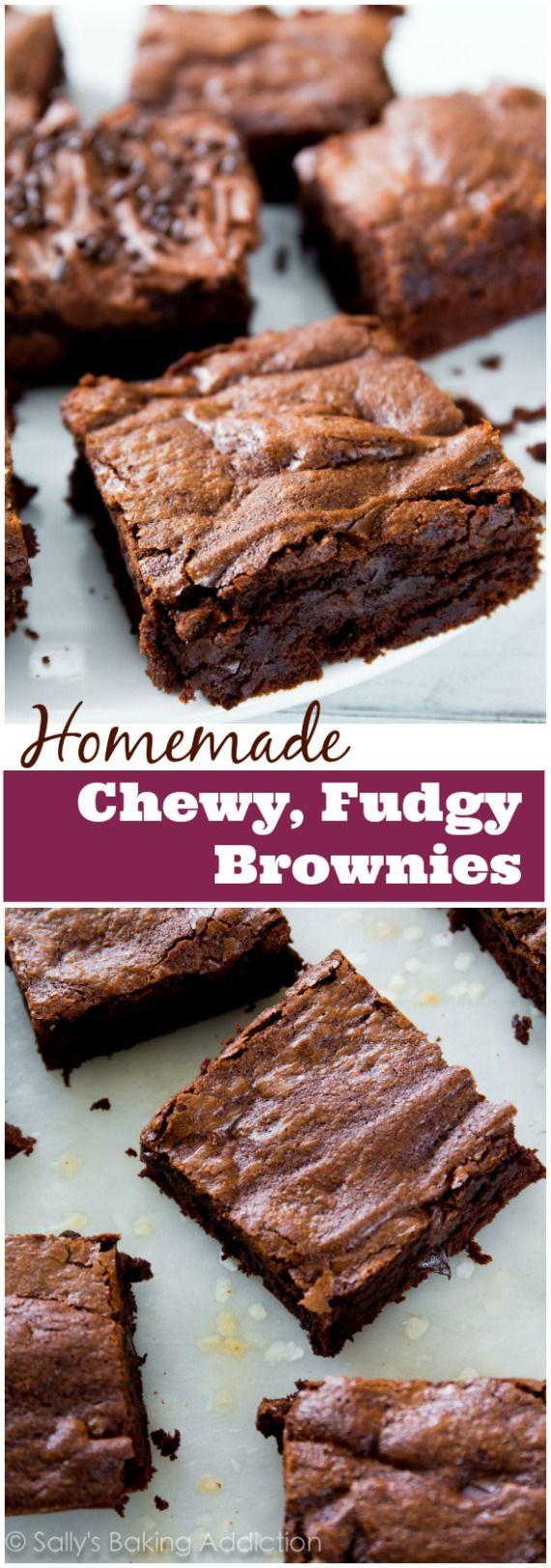 Chewy fudgy homemade brownies made completely from scratch. Try them with chocolate frosting on top! You will never make a box mix again.