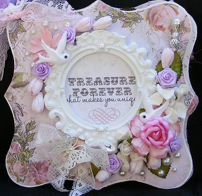 SHABBY CHIC STYLE MINI ALBUM WEDDING GIRL FAMILY FLOWER CHARMS SCRAPBOOKING/Toni