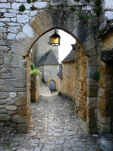 archway in Beynac, village in the Dordogne, France. The Dordogne-Limousin area of France is rich with well preserved medieval villages.